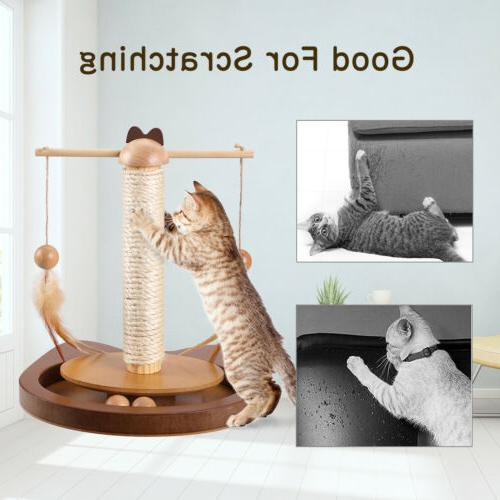 Cats Rod Feather Wooden Scratching Sisal Post