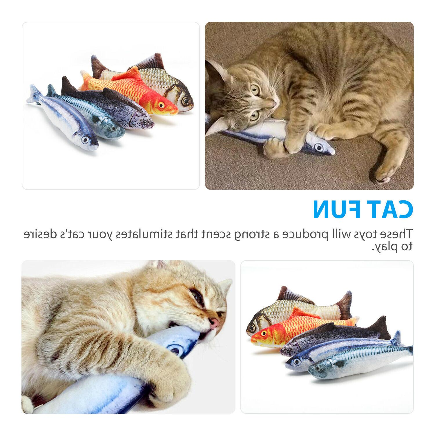 5 Pack Realistic Fish Kicker Pet Toy Gift