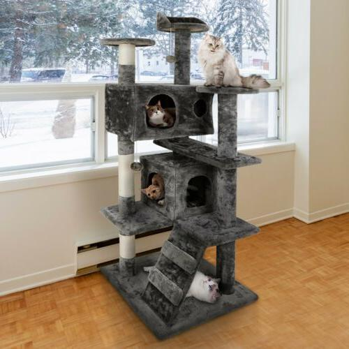 "52"" Cat Tree Tower Center Large Playing House Condo Rest"