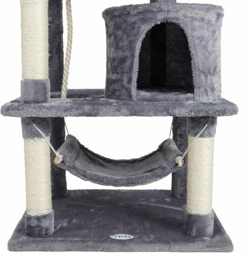 "57"" Cat Tree Condo Pet Furniture Tower Play House with Hammock"