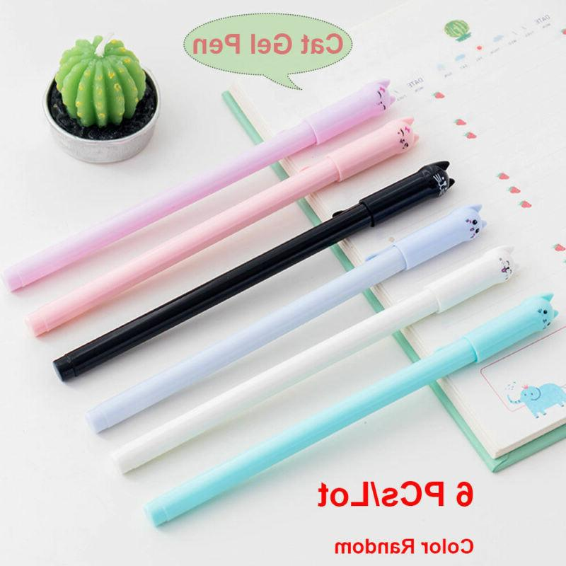 6pcs/set Cute Cat Gel Pen Black Ink Pens Kawaii Stationery S