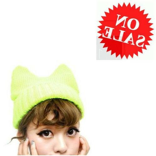 Beanie Hat For Women Girl Yellow Cute Cat Design Winter Ear