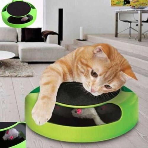 Cat Mouse Play Toy w/ Scratching Post Pad for Pup Animal Int