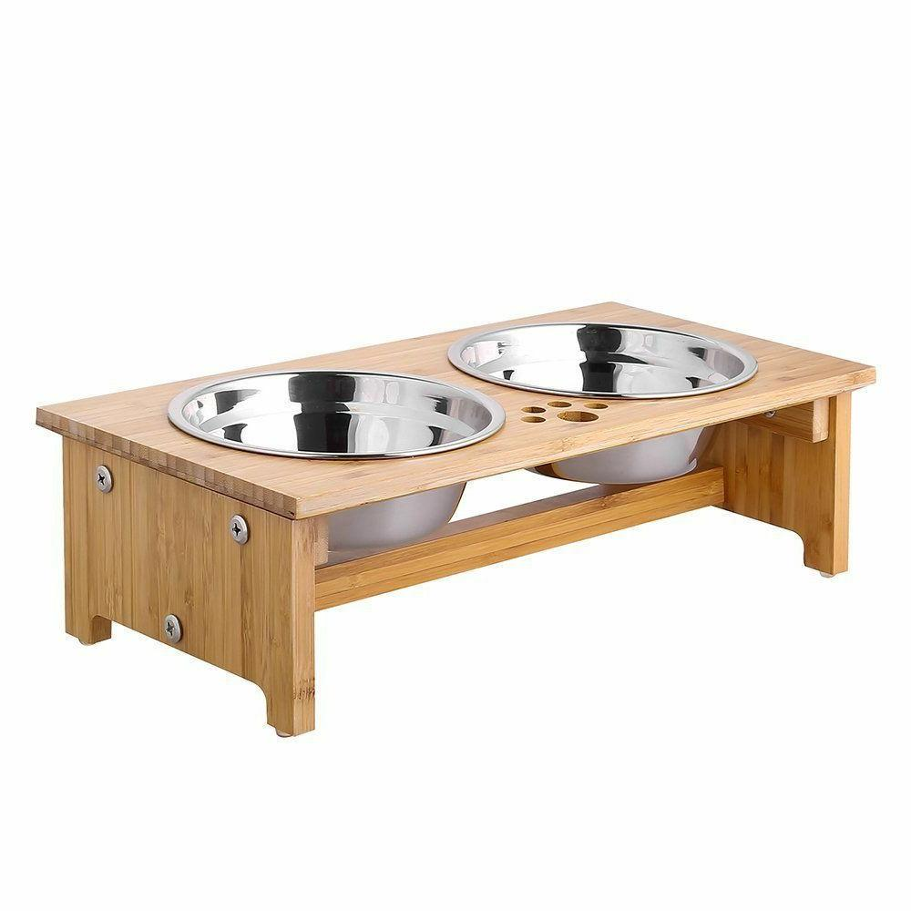 FOREYY Raised Pet bowls for Cats and Small Dogs - Bamboo Ele