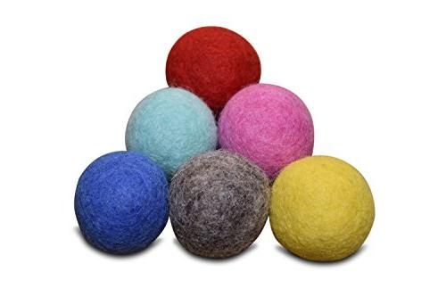 Set of 6 - 100% Wool Felt Ball Toys for Cats and Kittens, Co