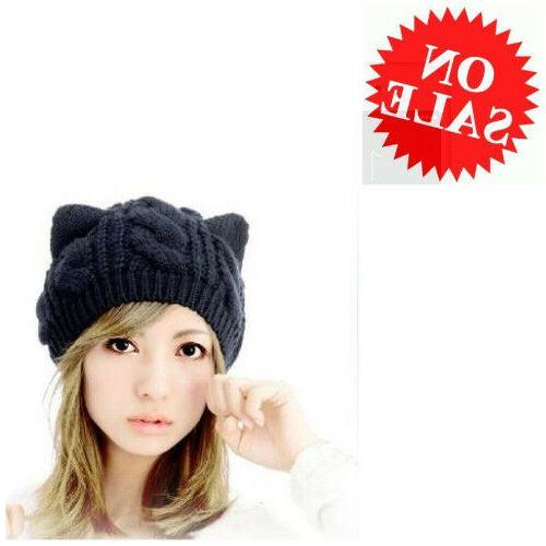 Slouchy Cap For Women Cute Cat Ear Design Stretchy Warm Cabl