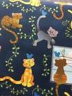 WHIMSICAL CAT KITTY FABRIC TRADITIONS NOVELTY NAVY BLUE QUIL
