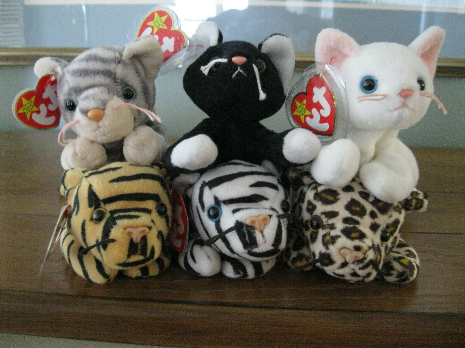 TY BEANIE BABIES CATS....6 TOTAL...MWMT STOCK...SMOKE