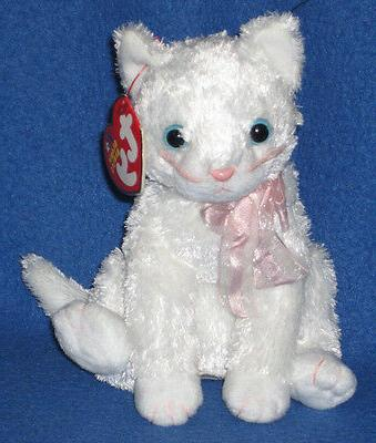 TY Beanie Baby - FANCY the White Cat  - MWMTs Stuffed Animal