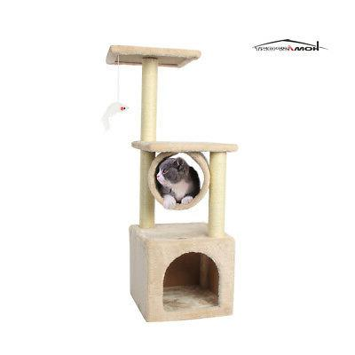 beige cat tree bed furniture