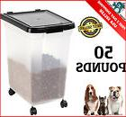 50lbs Airtight Pet Cat & Dog Food Container Storage Bin Anim