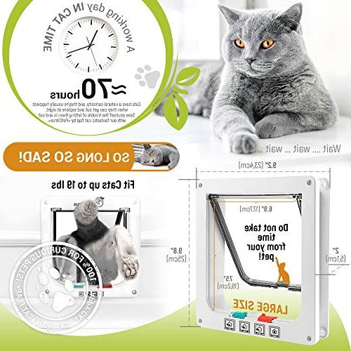 Cat Door by PetCitrus - Way Flap for Interior Exterior Indoor - Wall Swinging Compatible Large - Dog