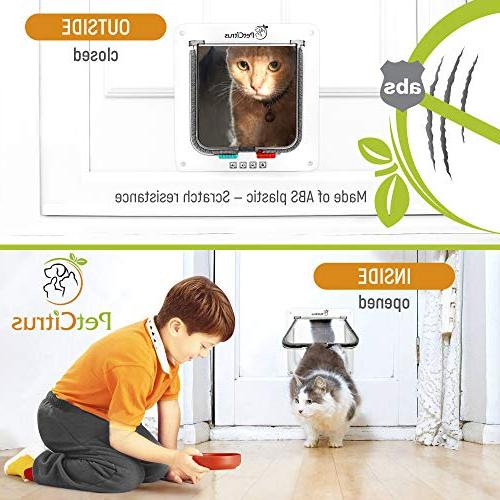 Cat Door Pet by PetCitrus - Way Locking - for Indoor - - Window - Swinging Magnetic Compatible with - – Dog Doggy