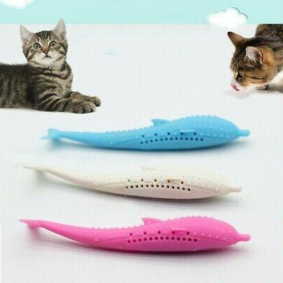 Funny Pet Cat Fish Shape Toothbrush Silicone Molar Stick Tee