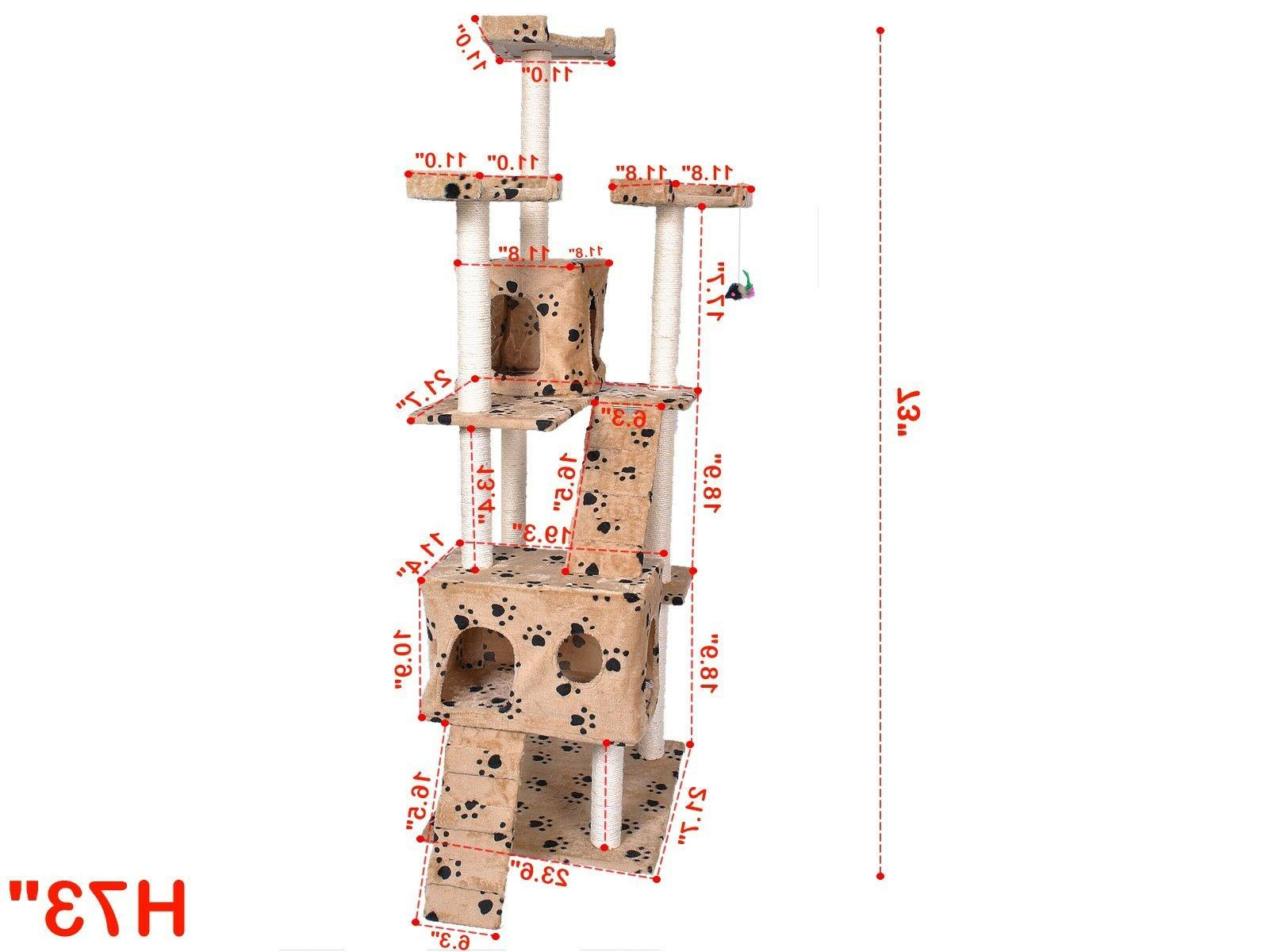 "Cat Tree For Cats 72"" Scratching Furniture Climbing Tower House"