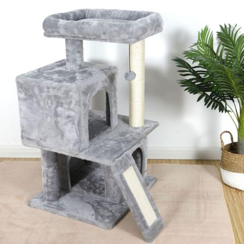"Multi-level 34"" Cat Tower Multiple Cats W/Sisal Posts,"