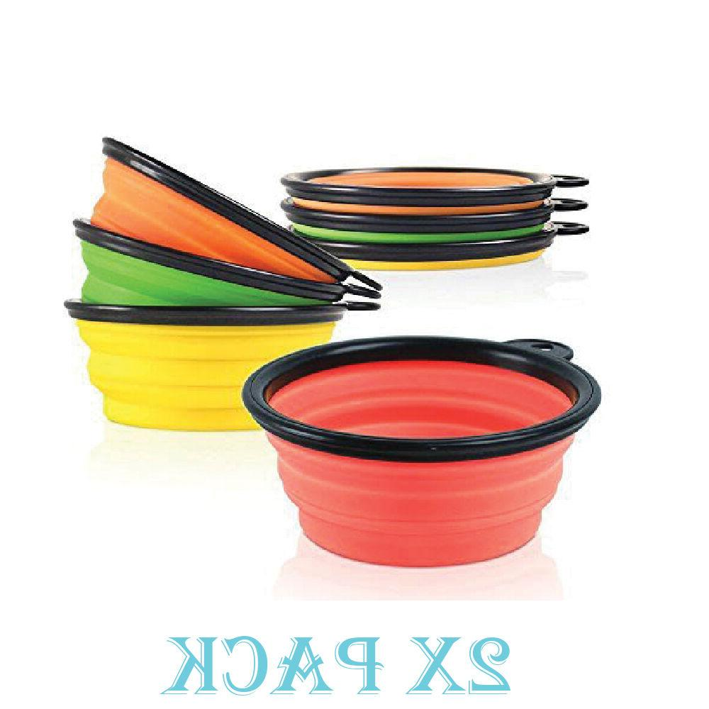 2 Pack Collapsible Dog Bowl Foldable Expandable Dish for Pet