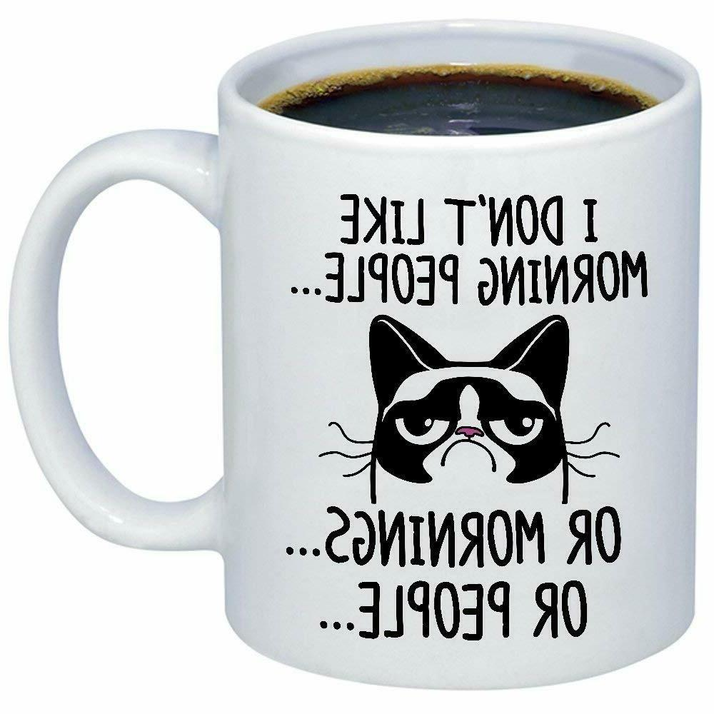 Funny Grumpy Cat Mug - I Don't Like Morning People Or Mornin