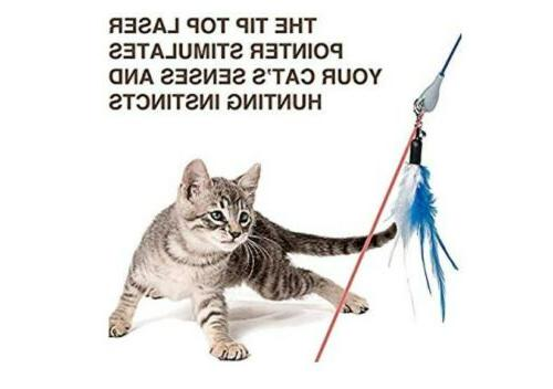 Interactive Cat Laser Cats Wand Chaser Feather Cats