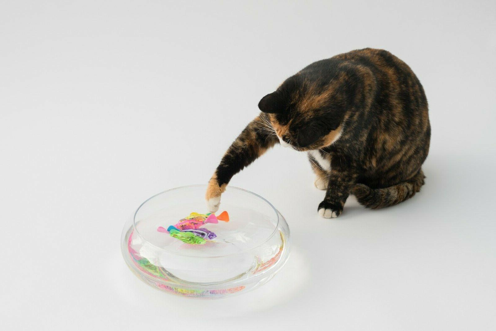 Interactive Robot Fish Toy for Cat with LED 4pc