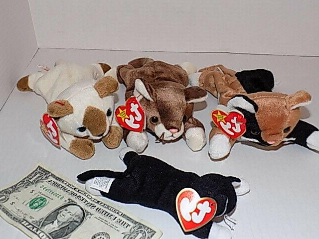 lot of 4 beanie baby cats kittens