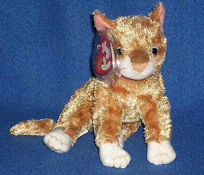 TY MATTIE the ORANGE TABBY CAT BEANIE BABY - MINT with MINT