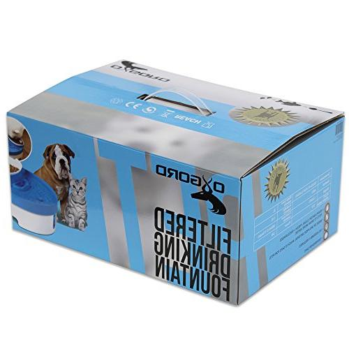 OxGord Pet Fountain & Food Bowl Feeder for Dog Cats Water Filter