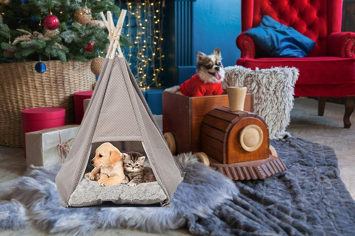 Pet Tent House Portable Teepee Kennel Little Dogs Cats with Soft Mat