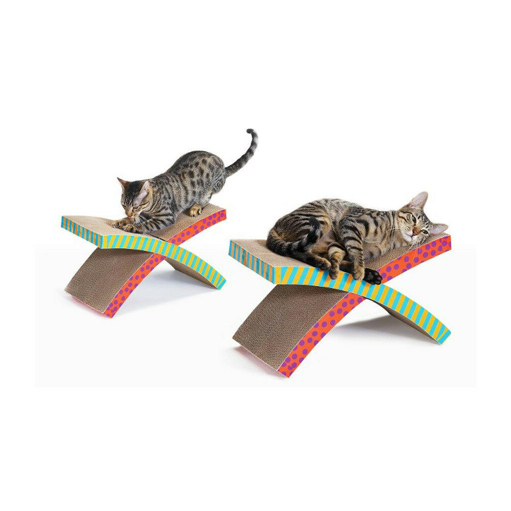 Scratch 'N Rest Cat Accessories, Brown, White and Blue, Pets