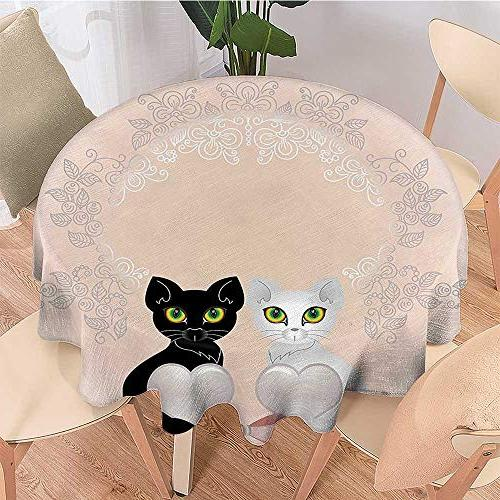 Dragonhome Simple Modern Round Table Cat Holding Hearts Background with Art P use, Restaurant, INCH