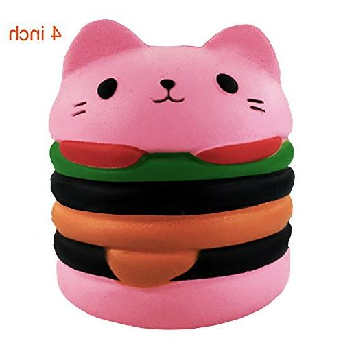 Usatdd Squishies Jumbo Slow Rising Squishy Kawaii Cat Hamburger Bread Cream Scented Food Stress Relief Toys Lovely Kids Toy Decorative Props Hand