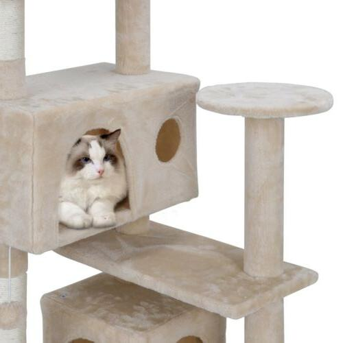 STURDY Cat Tree Activity Center Playing House Condo &
