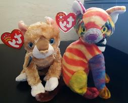 Lot 2 TY beanie cats Kaleidoscope the multi-colored cat & Ma