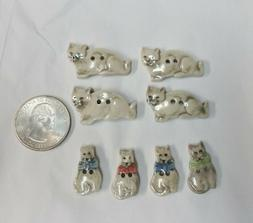 Lot of 8 Novelty Realistic Hand Painted Ceramic Kitty Cat Bu