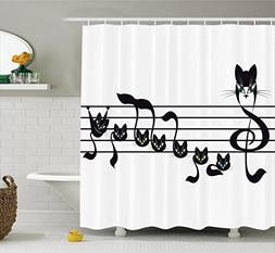 Ambesonne Music Decor Collection, Notes Kittens Cat Artwork