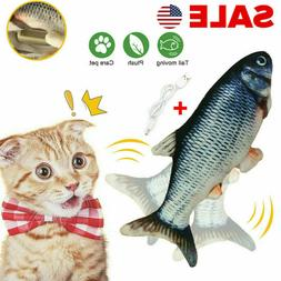 New Electric USB Floppy Moving Fish Cat Toy Realistic Plush