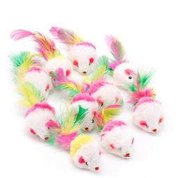 Yeahii 10pcs Novelty Pet Kitten Cat Furry Mouse Shaped Toy F