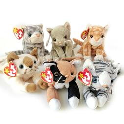 NWT Lot of 6 Beanie Baby Cats Chip Prance Snip Scat Amber Si