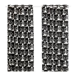 Ikea Pair of Window Curtains Set of 2 Black Cats Faces on Wh