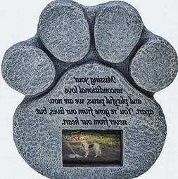 Paw Print Pet Memorial Stone -- Features a Photo Frame and S