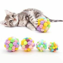 Pet Cats Tease Toys Handmade Rainbow Bell Ball Squeaky Toys