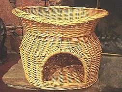 Pet Condo Unique for 2 Pets -Cat Bed Dog Bed-Natural Wicker