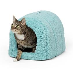 Best Friends by Sheri Pet Igloo Hut, Sherpa, Teal - Cat and
