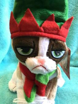 "Grumpy Cat Plush 8"" Christmas Elf Plush Stuffed Animal with"