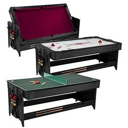 Fat Cat Pockey 7 Feet Black 3-in-1 Air Hockey, Billiards wit