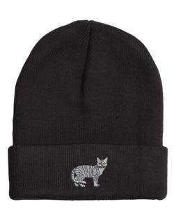 shorthair tabby cat embroidery embroidered beanie skully