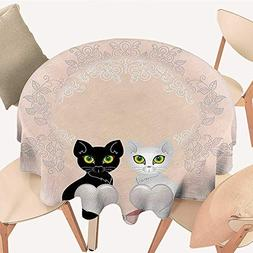 Dragonhome Simple Modern Round Table Cloth Cat Holding Heart