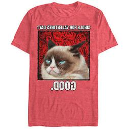 Grumpy Cat Single for Valentine's Day Good Mens Graphic T Sh