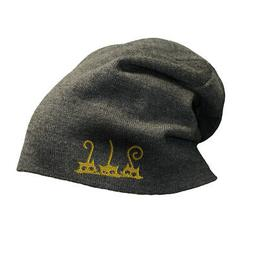Slouchy Beanie for Men Cat 3 Half Head and Tails Embroidery