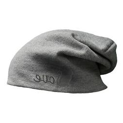 Slouchy Beanie for Men Cat Love Silhouette Grey Embroidery C